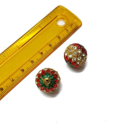 2pcs, 18mm, Jadau Beads