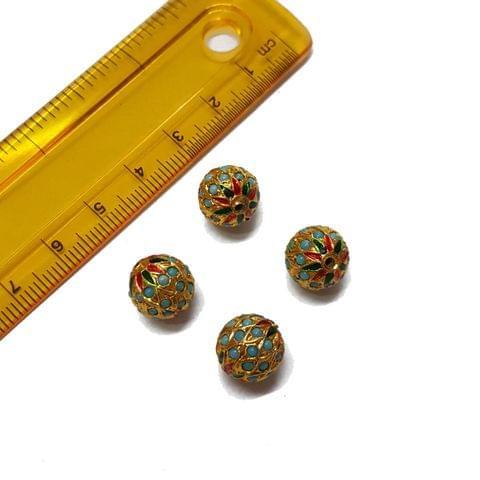 4pcs, 10mm, Turquoise Meenakari Jadau Beads