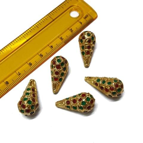 5pcs, 12x25mm, Multi Jadau Drop Beads