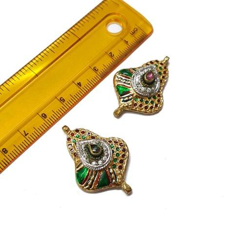 2pcs, 24x36mm, Green AD Meenakari Beads