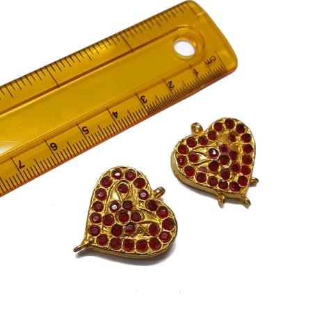 2pcs, 26mm, Heart Shape Jadau Spacer