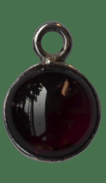 92.5 Sterling Silver Round Garnet Charm