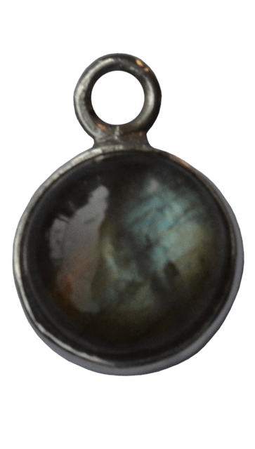 92.5 Sterling Silver Round Labrodorite Charm