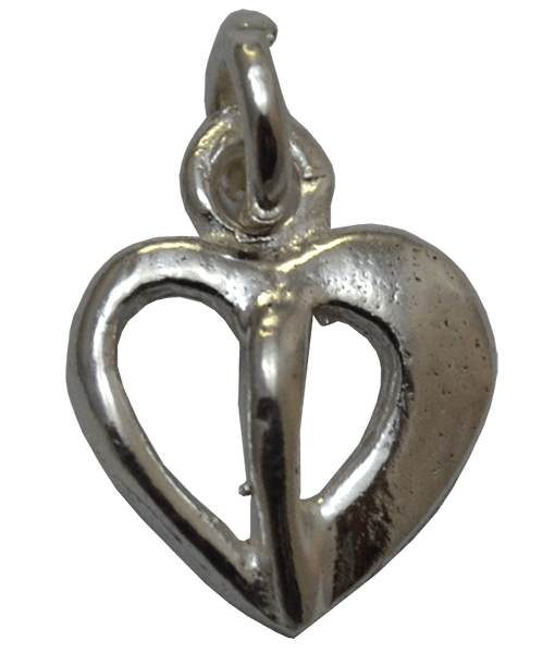 92.5 Sterling Silver Divided Heart Charm