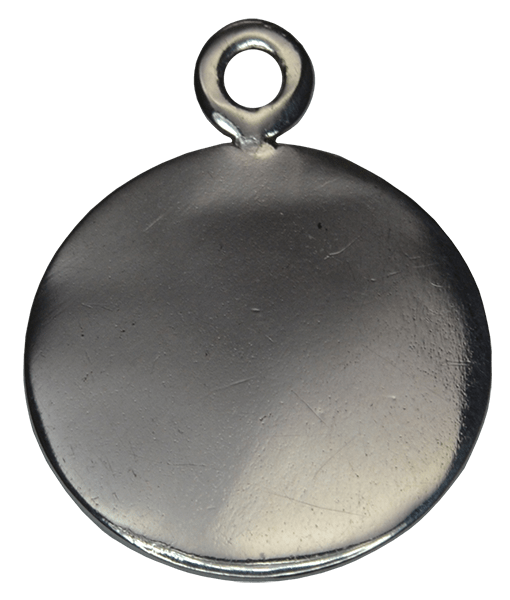 92.5 Sterling Silver Round Engraving Charm-15mm