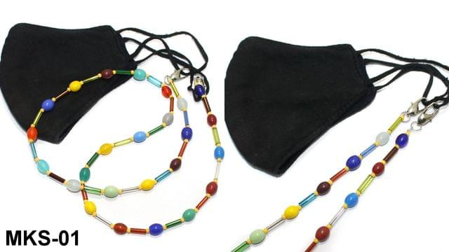 Beaded Designer Mask Chain Dori Multicolor