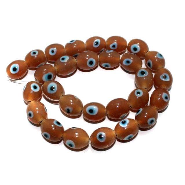 1 string Peach Evil Eye Glass Beads Round 9mm