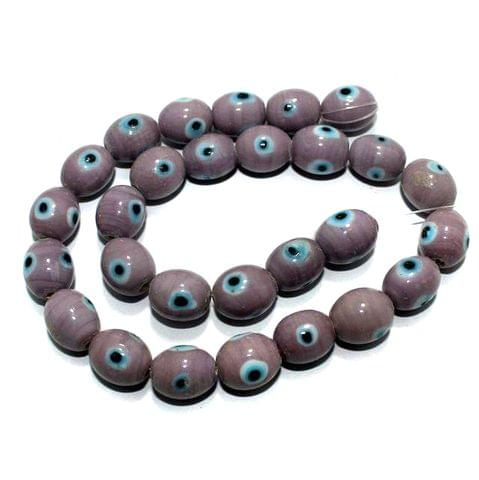1 string Purple Evil Eye Glass Beads Round 9mm