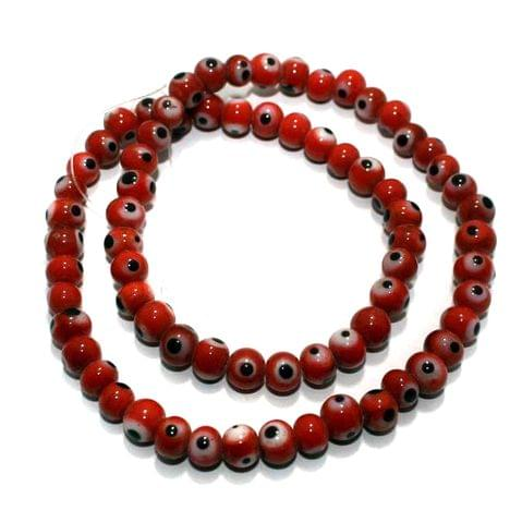1 string Red Evil Eye Glass Beads Round 4mm