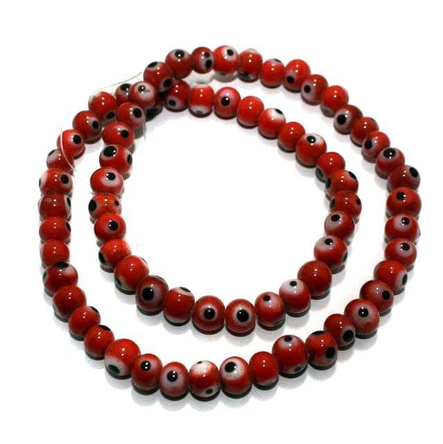 1 string Red Evil Eye Glass Beads Round 4mm