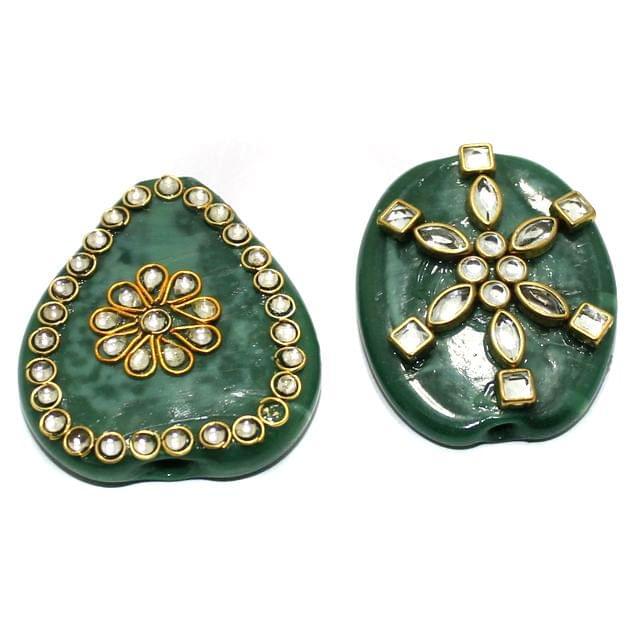 2 Pcs Green Glass Kundan Beads 1.75Inch