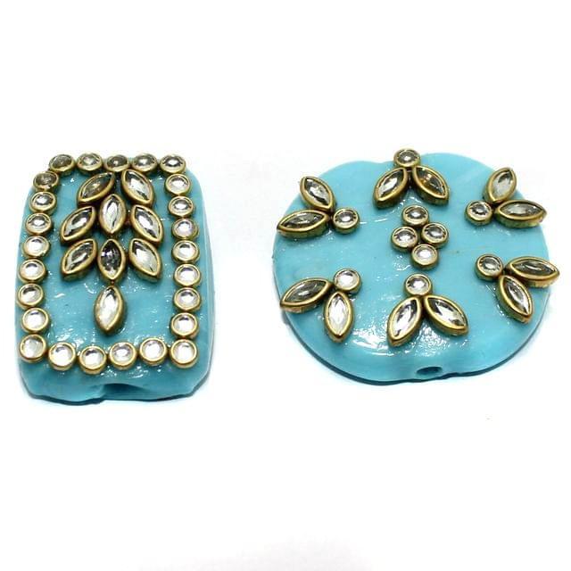 2 Pcs Sky Blue Glass Kundan Beads 1.5Inch