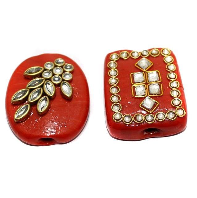 2 Pcs Red Glass Kundan Beads 1.5Inch