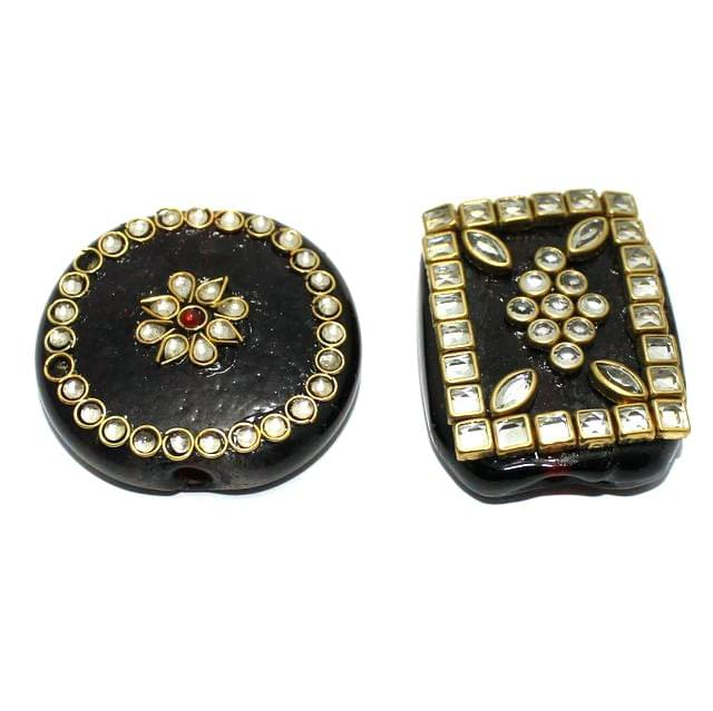 2 Pcs Maroon Glass Kundan Beads 1.75 Inch