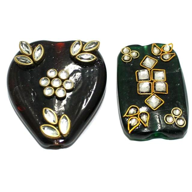 2 Pcs Multi Color Glass Kundan Beads 2Inch
