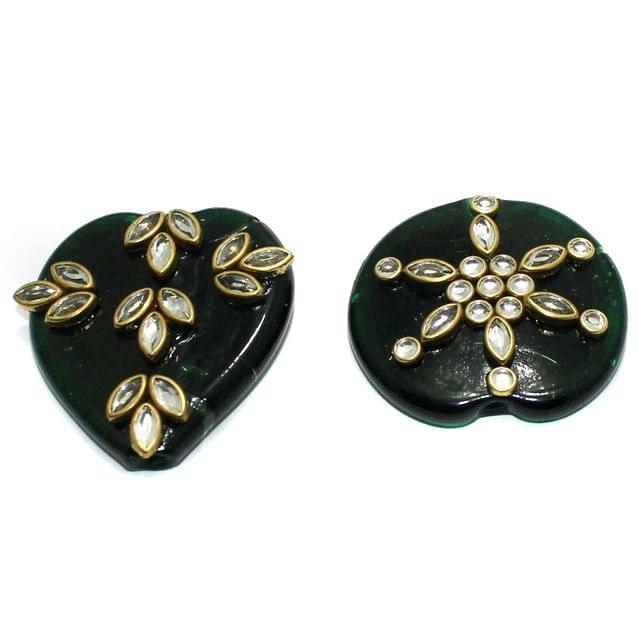 2 Pcs Green Glass Kundan Beads 2Inch