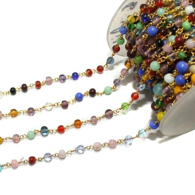 1 Mtr Glass Beaded Chain Multi Roung 4mm