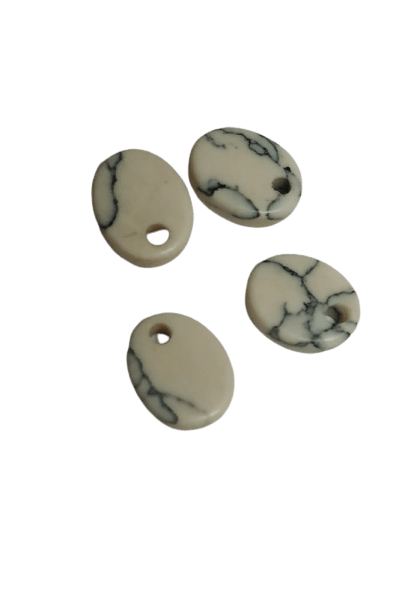 8*10mm Flat Oval Howlite with Hole on Top