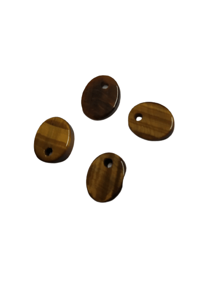 8*10mm Flat Oval Tiger Eye with Hole on Top