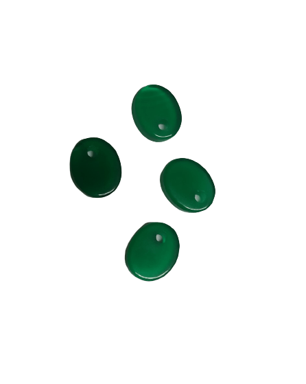 8*10mm Flat Oval Green Onyx with Hole on Top