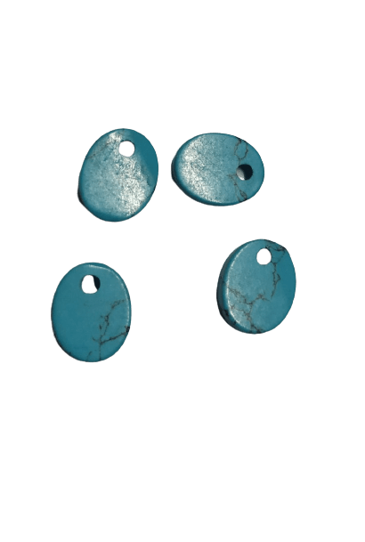 8*10mm Oval Flat Reconstituted Turquoise with Hole on Top