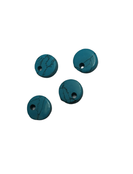 8mm Flat Reconstituted Turquoise with Hole on Top