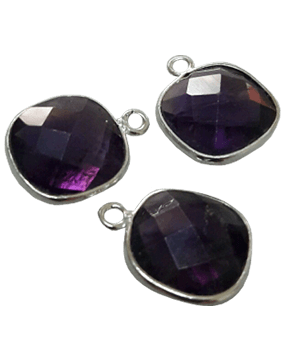 Sterling Silver Amethyst Square CHARM