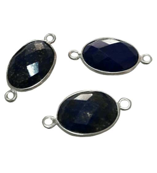 Sterling Silver Lapis Oval Connector
