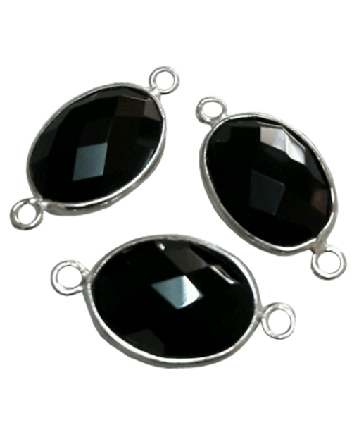 Sterling Silver Black Onyx Oval Connector