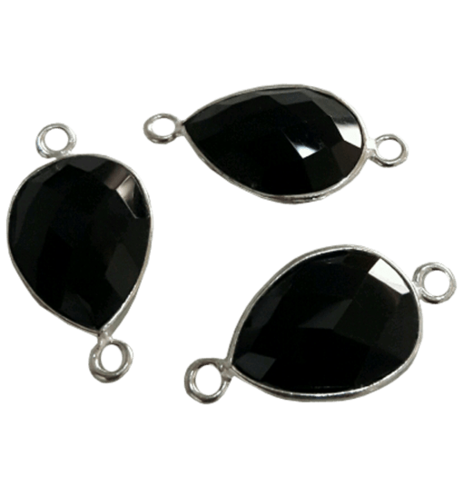 Sterling Silver Drop Black Onyx Connector