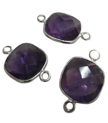 Sterling Silver Square Amethyst Connector