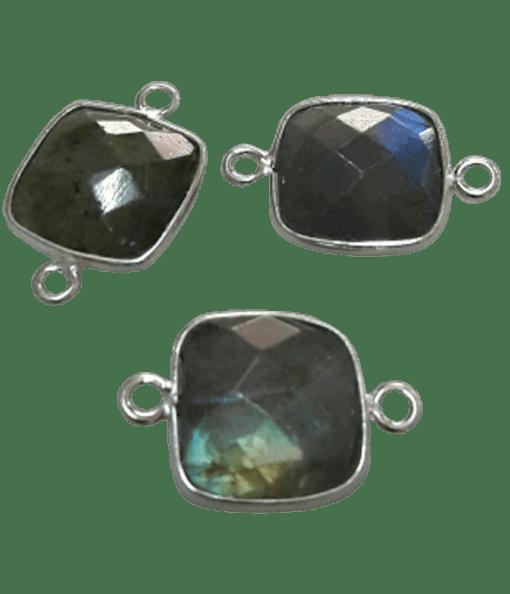 Sterling silver Square Labrodorite Connector