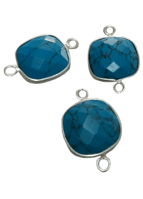 Sterling Silver Square Turquoise Connector