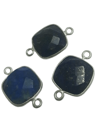 Sterling Silver Square Lapis Connector