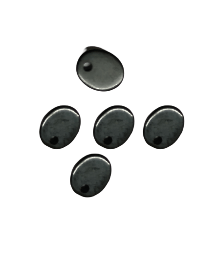 8*10mm Flat Oval Black Onyx with Hole on Top