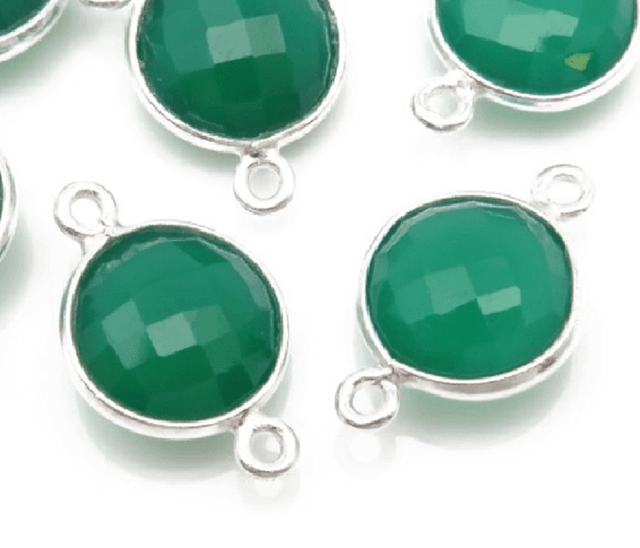 92.5 Sterling Silver Round Green Onyx Connector