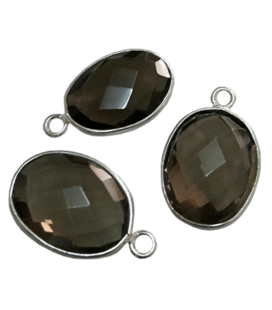 Sterling Silver with Smoky Quartz Oval CHARM