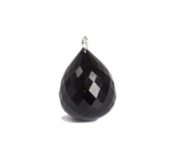 92.5 Sterling Silver with Black Onyx Faceted Charm