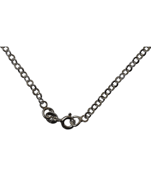 92.5 Sterling Silver Round Flat Links Chain - 45 cms