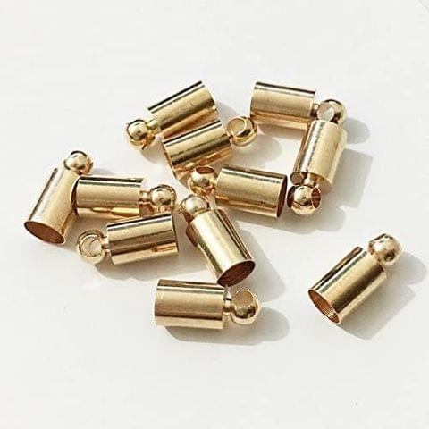 20 Pcs Gold Plated Brass Cord Ends 10.5x5mm