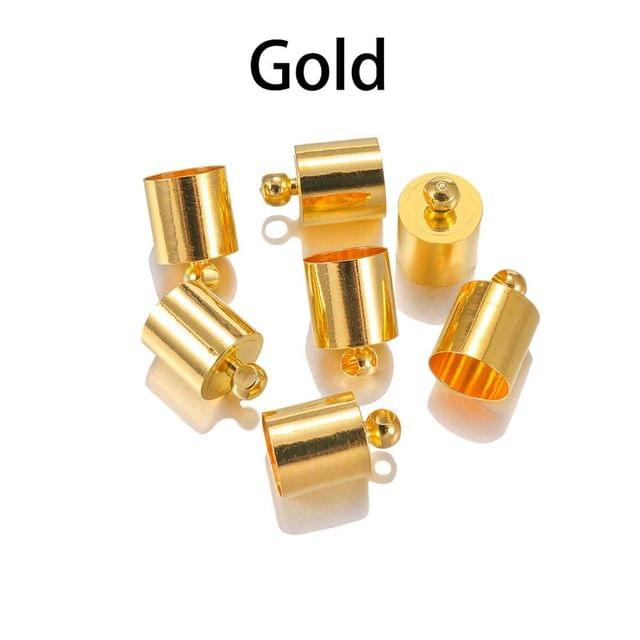 20 Pcs Gold Plated Brass Cord Ends 10x5.5mm