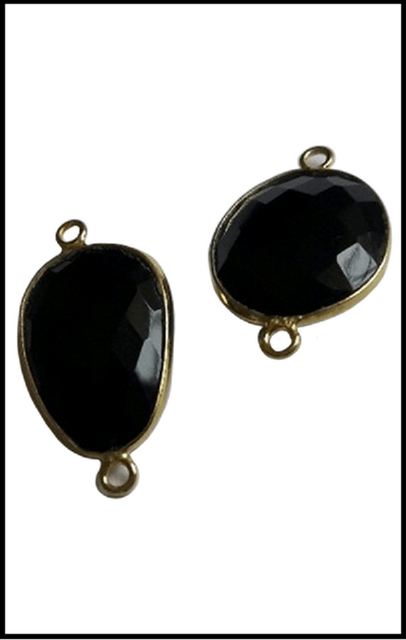 92.5 Sterling Silver Free Form Black Onyx Connector