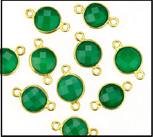 92.5 Sterling Silver Green Onyx Round Connector