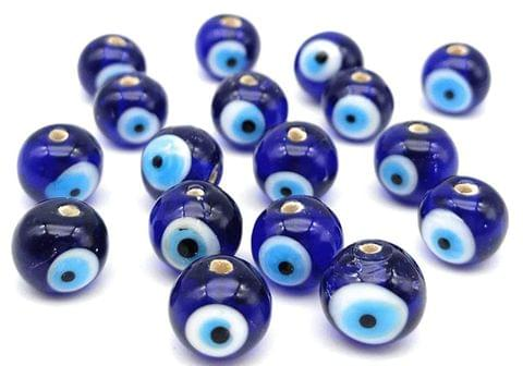 240 Glass Evil Eye Round Beads Blue 8mm