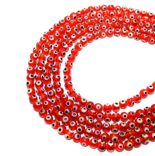5 strings Red Glass Evil Eye Round Beads  6mm