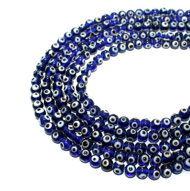 5 strings Evil Eye Round Blue Beads  6mm