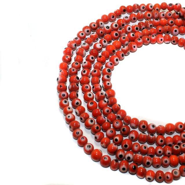 5 string Red Evil Eye Glass Beads Round 6mm
