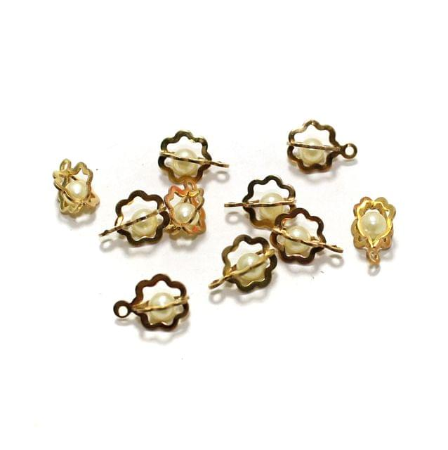 10 Pcs Flower Earrings Components Pearl Charms Size 10x8mm
