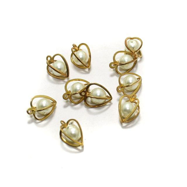 10 Pcs Heart Earrings Components Pearl Charms Size 9x6mm