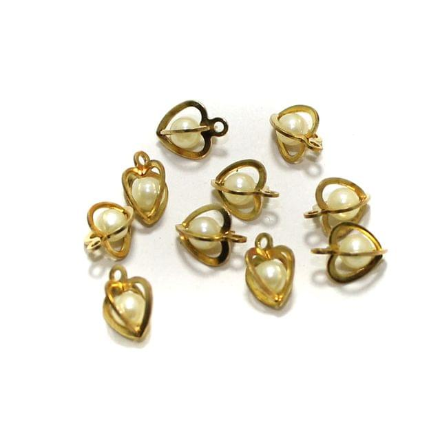 10 Pcs Heart Earrings Components Pearl Charms Size 12x10mm